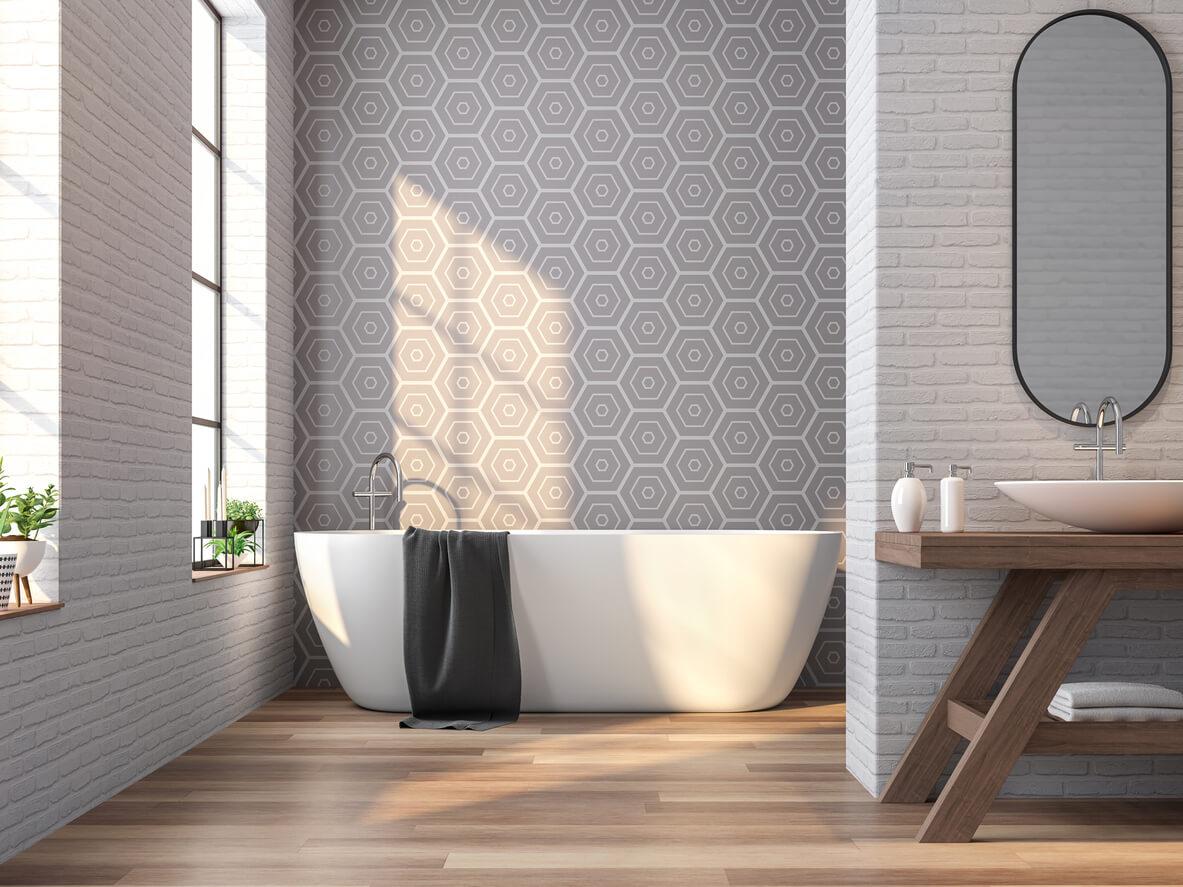 pavimenti e rivestimenti SVAI_rivestimento bagno moderno geometrico grigio