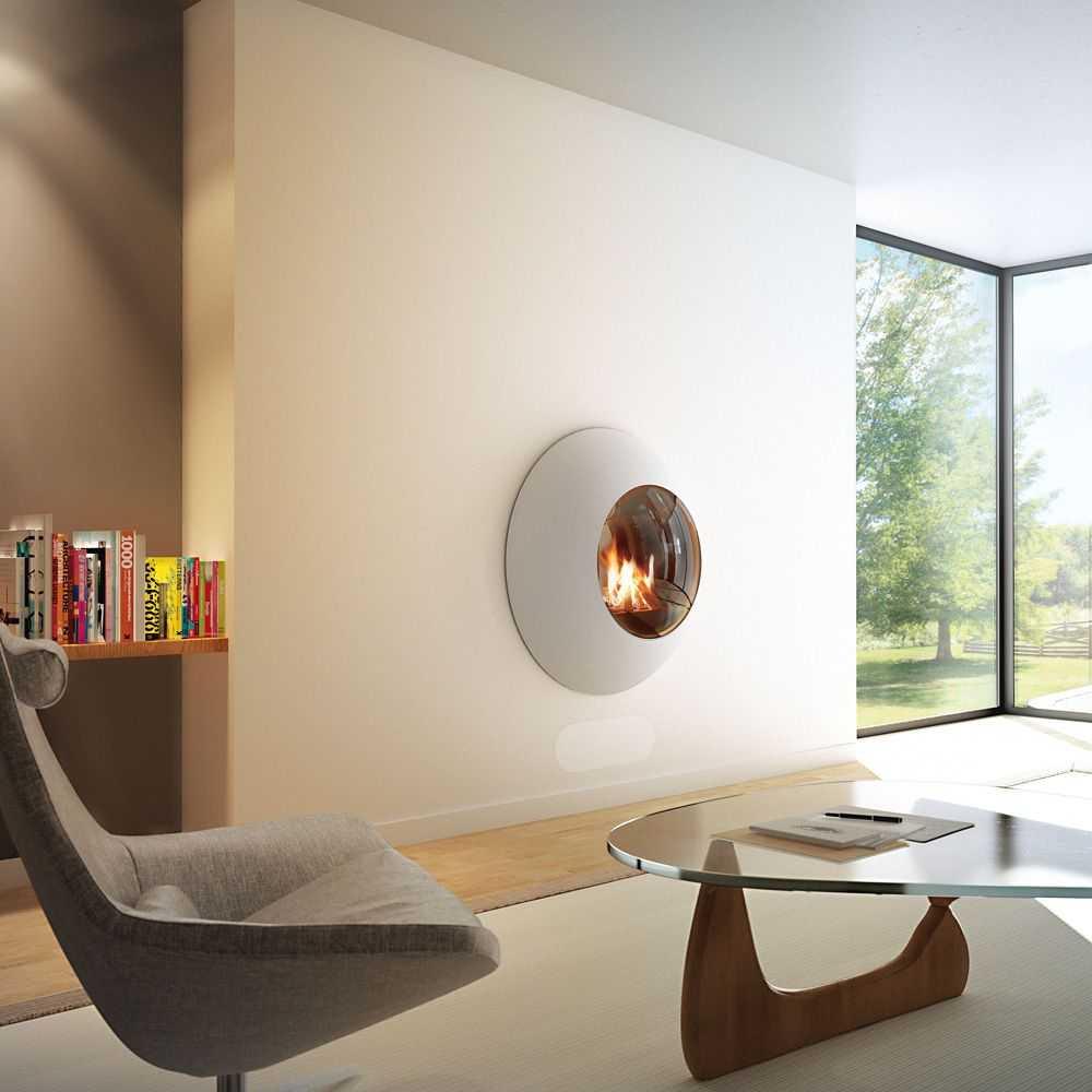 SVAI_caminetto moderno di design tondo sospeso a parete_bianco