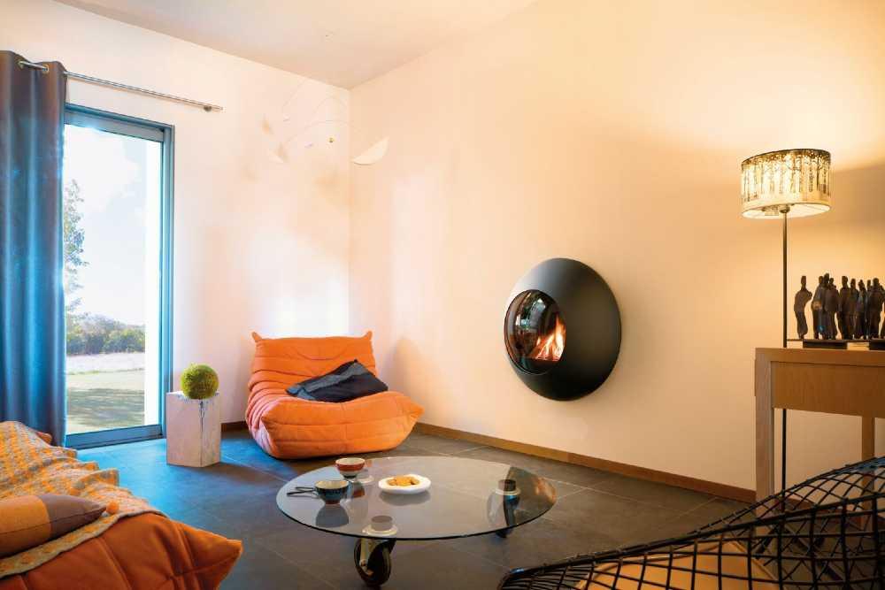 SVAI_caminetto moderno di design tondo sospeso a parete_nero antracite 2