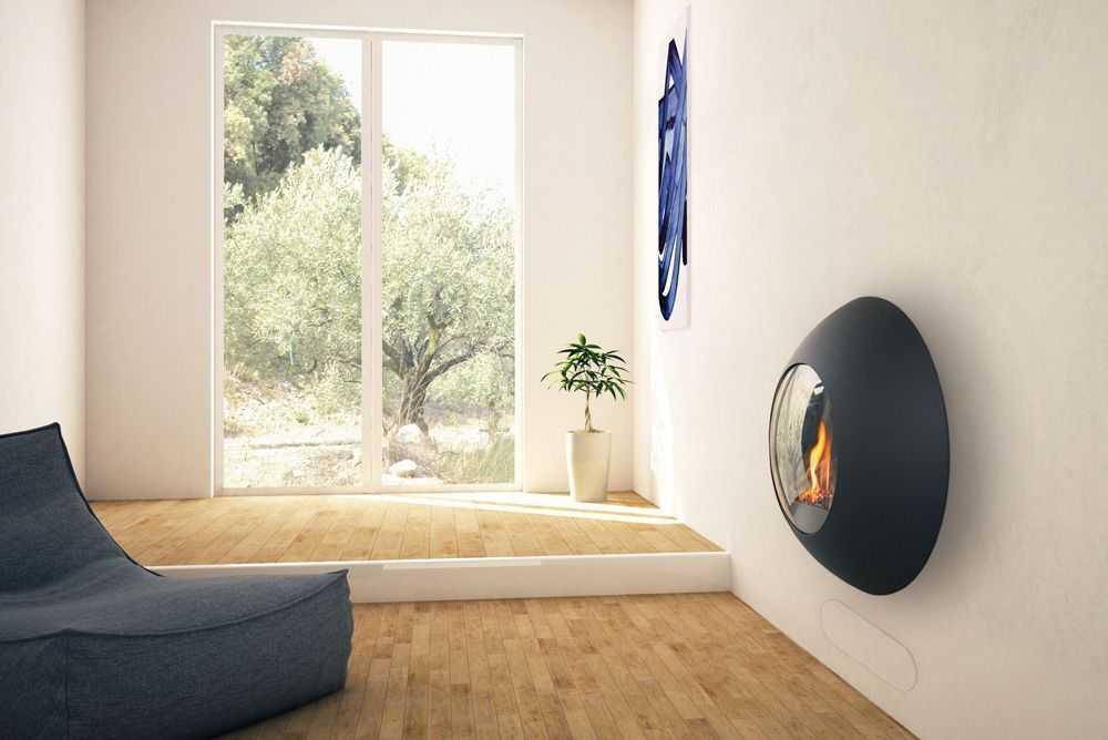 SVAI_caminetto moderno di design tondo sospeso a parete_nero antracite