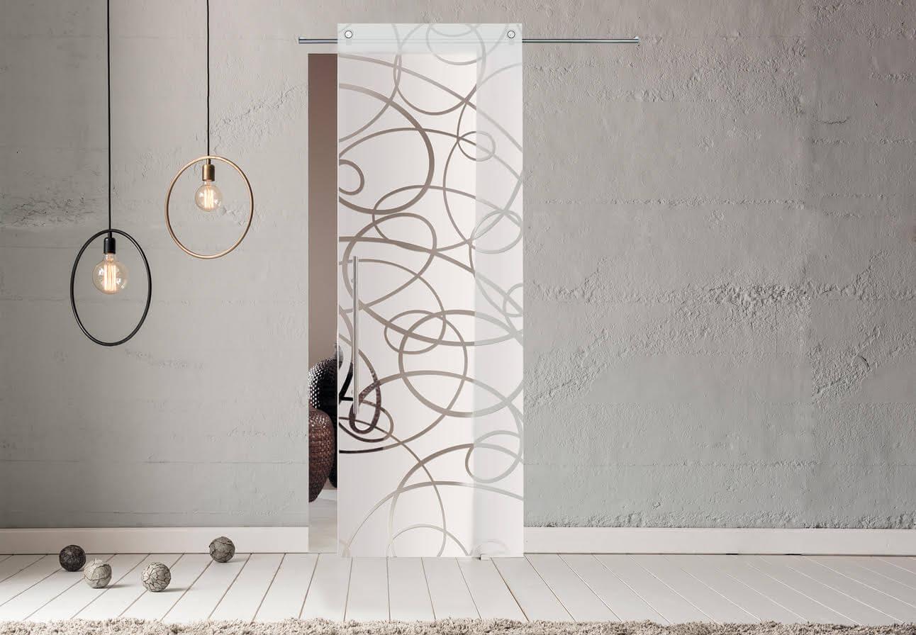 SVAI_porta scorrevole 1 anta vetro satinata decorata binario a vista