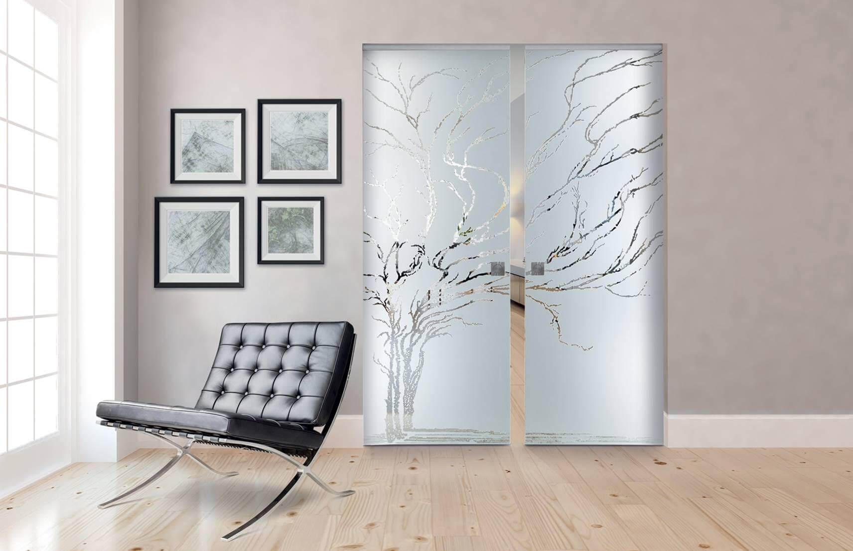 SVAI_porta scorrevole 2 ante vetro satinata filomuro decorata floreale