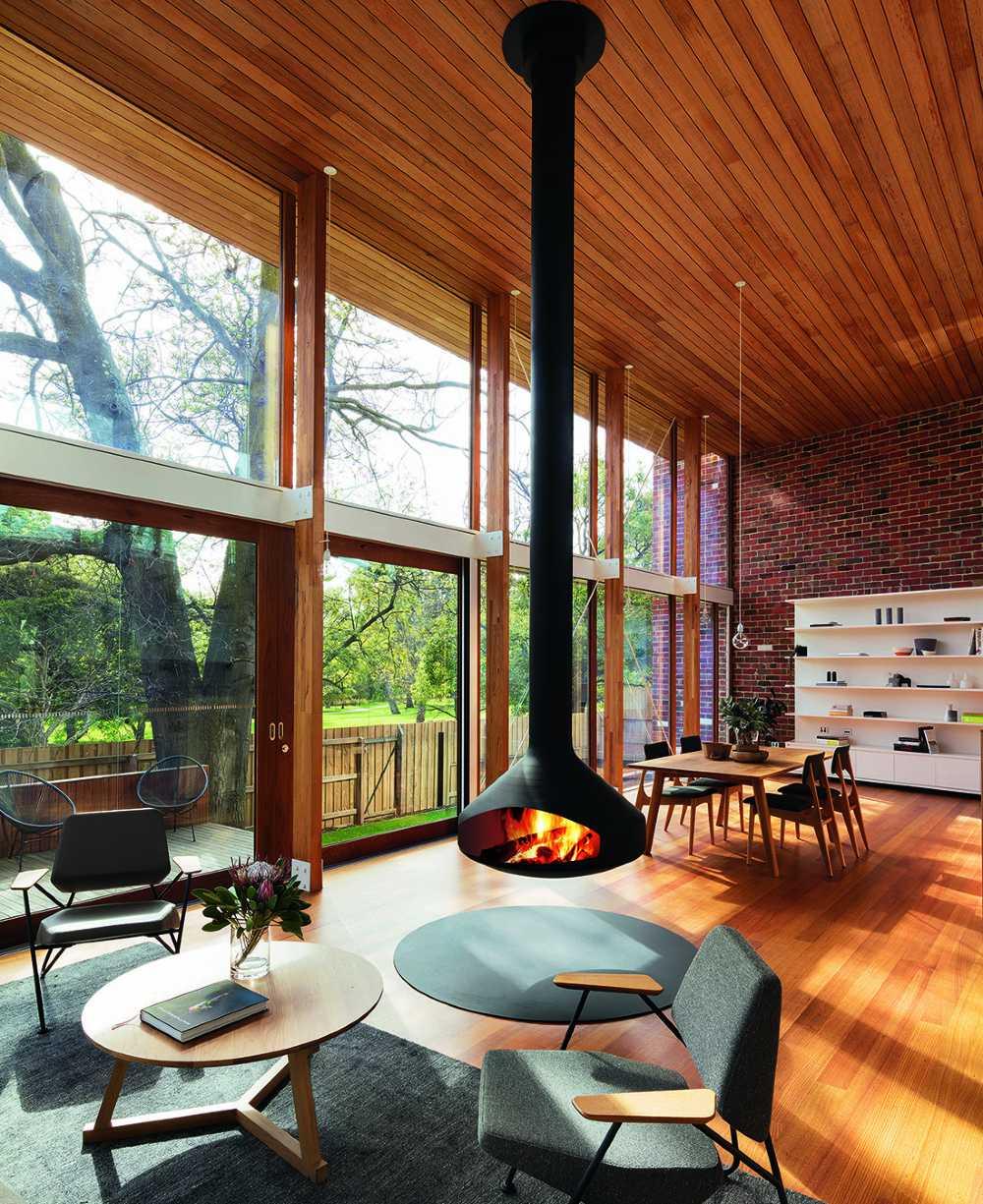 SVAI_stufa a legna moderna di design da soffitto alto
